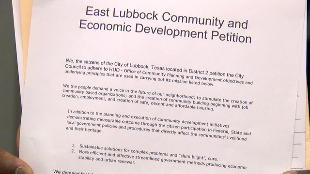 East Lubbock Residents Signing Petition Against City Of Lubbock -