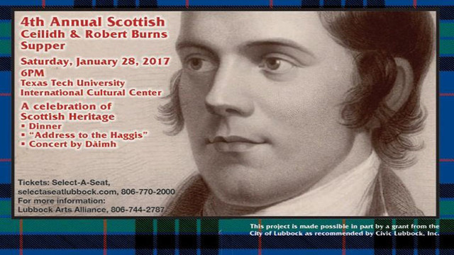 4th Annual Scottish Ceilidh & Robert Burns Supper to be Held on Saturday, January 28