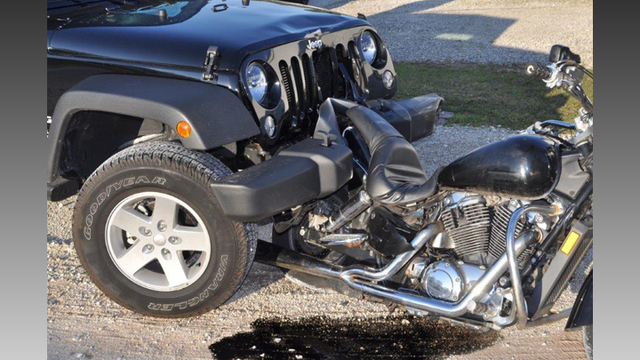 DUI Suspect Drives Home With Victim's Motorcycle In Front Bumper in Alabama