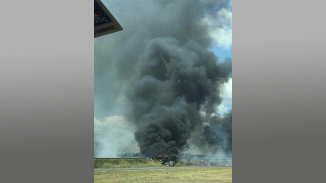 Fiery Crash North of Snyder on Highway 84