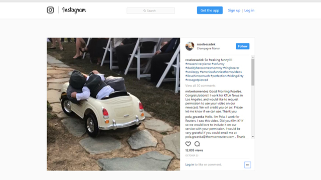 Child Ring Bearer Falls Asleep at The Wheel Going Down the Aisle