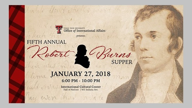 Texas Tech to Host Fifth Annual Robert Burns Supper on January 27