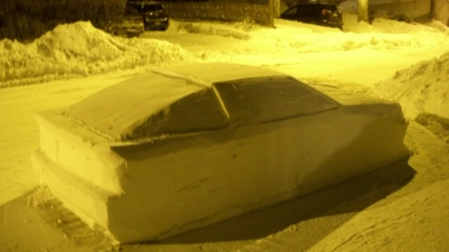 Montreal man fools police with fake vehicle  made of snow