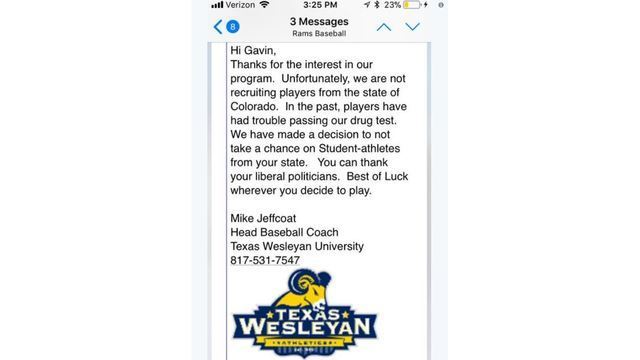 Texas Wesleyan coach refuses to recruit Colorado player over weed laws