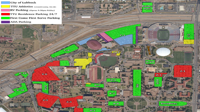 Map Of Texas Tech.Texas Tech Announces Parking Information For Spring Game