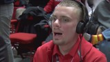 Texas Tech basketball team manager cheering for team at home